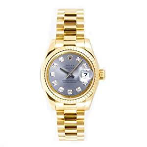 Rolex Ladys President New Style Heavy Band 18k Yellow Gold Model 179178 Fluted Bezel Silver Diamond Dial