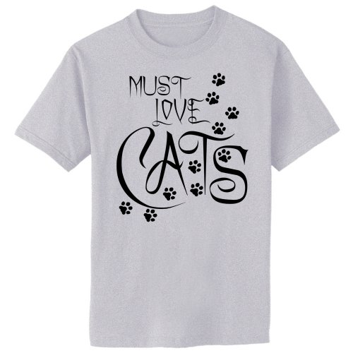 Must Love Cats Art Paw Print T-Shirt, Large, Ash Gray