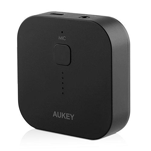 Aukey® Ricevitore Bluetooth portatile, Bluetooth 3.0 Receiver Wireless, Ricevitore Adattatore Audio per Sistema di Altoparlanti Stereo in Auto e Casa, e per Telefono Cellulare con 3,5 mm Aux. (Nero)