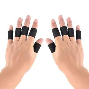 Amazon.com : 10 piezas Negro Tela elástica Tenis Bádminton Finger