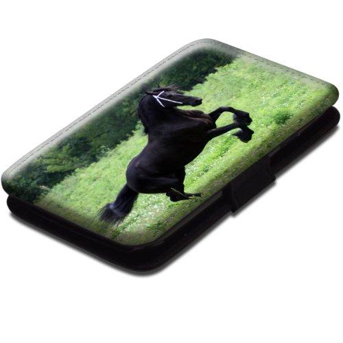 Pferde 10016, Schwarzes Pferd, Schwarz Leder Hülle Fall Ledertasche Handyschutzhülle Klappetui für Handy mit Magnetverschluss und Farbig Design für Samsung Galaxy S3 Mini