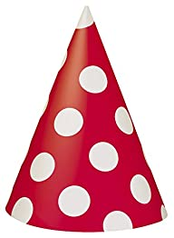8 Count Red Polka Dot Party Hats