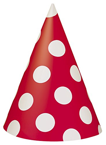 8 Count Red Polka Dot Party Hats - 1