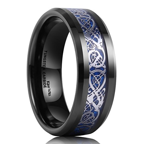 King Will Mens 8mm Black Tungsten Carbide Ring Blue Carbon Fiber Celtic Dragon Wedding Band(9) (Black Platinum Ring compare prices)