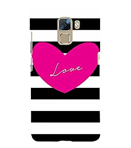 Pinkish Love 3D Hard Polycarbonate Designer Back Case Cover for Huawei Honor 7