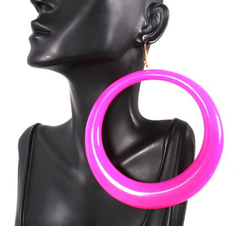 Basketball Wives Pink Hoop Style 4.25 Inch Drop Earrings Poparazzi