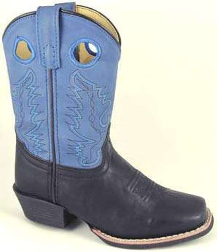 Smoky Mountain 1412 Kid'S Memphis Square Toe Boot Black/Blue Child'S 10 M