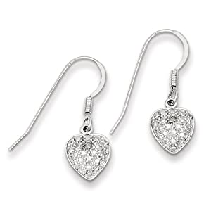 Genuine IceCarats Designer Jewelry Gift Sterling Silver Heart Diamond Earrings In Sterling Silver