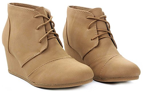 JJF Shoes Aloe Tan Lace-up Faux Nubuck High Top Wedge Ankle Sneaker Bootie-10