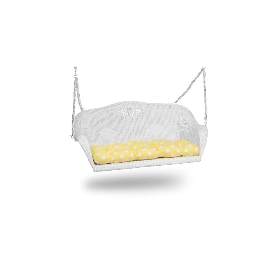 3411 Aluminum Frame White Wicker Swing with Yellow Polka Dot Cushion [3411SW WT CU S YLPD GG]