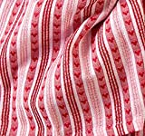 "Vc-s70 Red Heart Stripe Valentine's Day Tablecloth 70"" Round Jacquard Red White Pink, 100% Cotton"