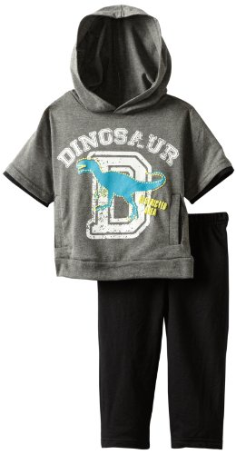 Carter's Watch the Wear Baby-boys Infant 2 Piece Short Sleeve Sweat Suit With Dinosaur Top, Black, 18 Months