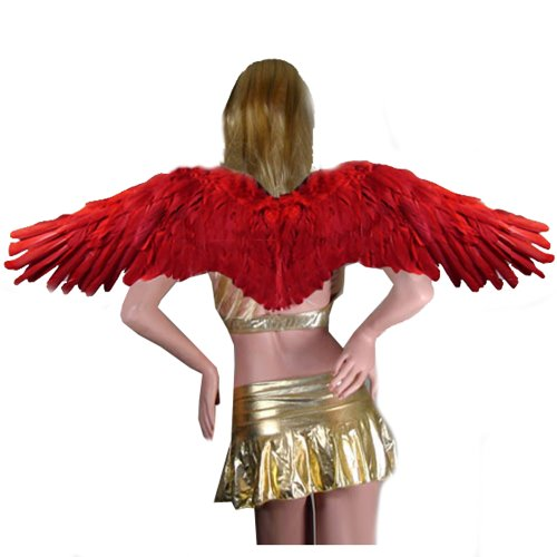 SACAS Extra Large Red Feather Angel Wings w/ Halo for Adult women and men