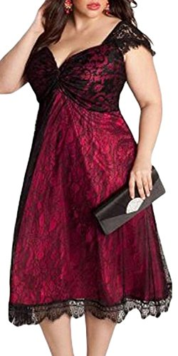 IF FEEL Elegant Lace Overlay Embellished Black Plus Size Women Cocktail Dress ((US 22-24)XXXL, red)