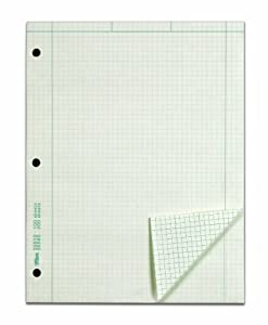 TOPS Engineering Computation Pad, 3-Hole Punched, 8.5 x 11 Inches, 5 Squares per Inch, 100 Sheets, Green, (35510)