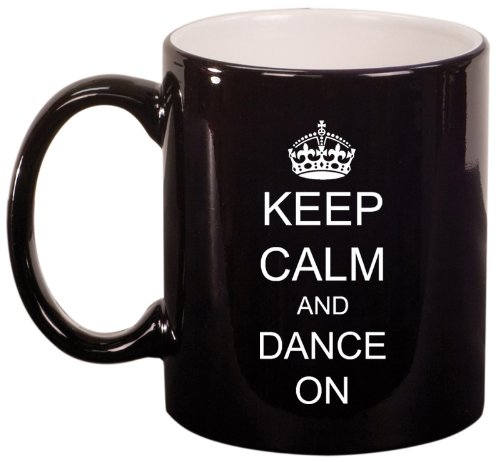 Keep Calm And Dance On Crown Ceramic Coffee Tea Mug Cup Black