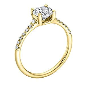 IGI Certified 14k yellow-gold Round Cut Diamond Engagement Ring (0.72 cttw, G Color, VS2 Clarity)