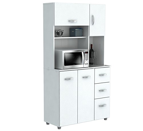 Inval America 4 Door Storage Cabinet with Microwave Cart, Laricina White (Cabinets For Microwave compare prices)