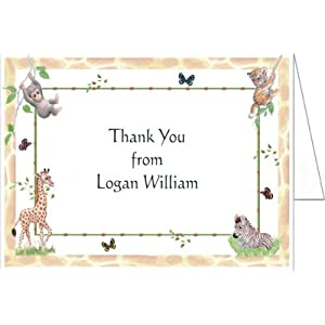 Jungle Animals Baby Thank You Cards - Set of 20