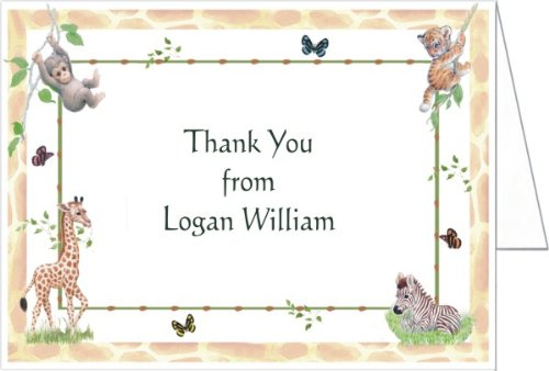 Jungle Animals Baby Shower Thank You Cards - Set Of 20 front-1018312