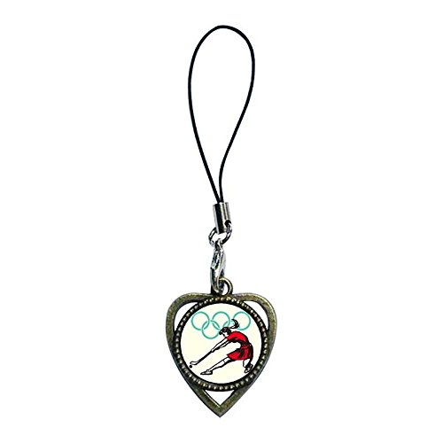 Chicforest Ancient Bronze Retro Style Olympics Archery Target Photo Heart Shaped Strap Hanging Chain For Phone Cell Phone Charm Dust Plug-Earphone Jack Accessories, Cell Charms, Dust Plug, Ear Jack Universal 3.5Mm Anti Dust Earphone Jack Plug Cap For Phon