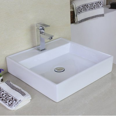 "American Imaginations AI-11029 Above Counter Rectangle Vessel for Single Hole Faucet, 17"" x 17"", White"