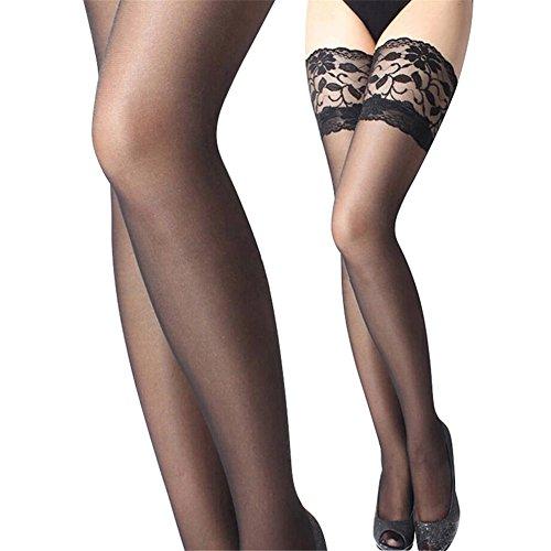 NEW Women Sexy Hold Up Stockings With Lace Top