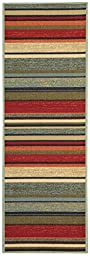 Anti-Bacterial Rubber Back RUGS RUNNERS Non-Skid/Slip 2x5 Runner Rug | Colorful Stripes Indoor/Outdoor Thin Low Profile Modern Home Floor Bathroom Kitchen Hallways Decorative Rug