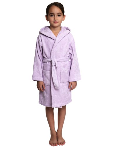 TowelSelections Big Girls' Turkish Cotton Hooded Kids Terry Bathrobe Cover-up Size 12 Lavender