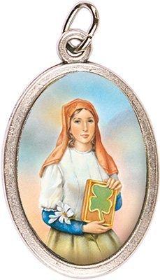 "Rosarybeads4U 1"" St Saint Dymphna Silver Coloured Metal Medal Charm Pendant - Enamelled Icon"