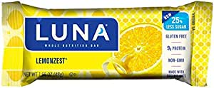 LUNA BAR - Gluten Free Bar - Lemon Zest - (1.69 oz), 15 Count