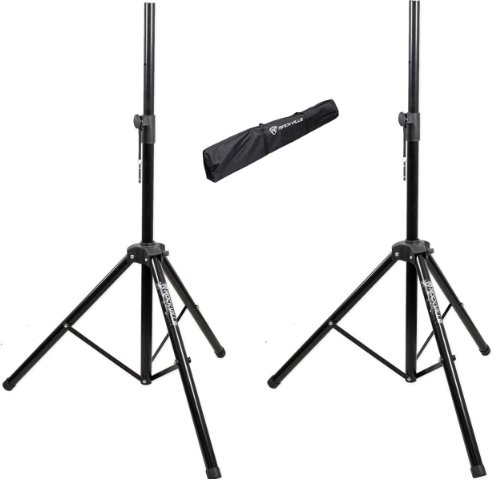 Brand New Pair Of Rockville Rvss2 Heavy Duty Adjustable Pro Pa Speaker/Lighting Stands + Carrying Case