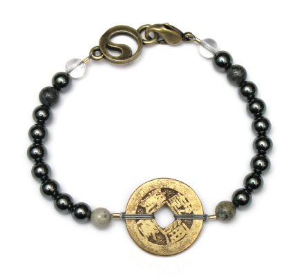 "Hematite ""Grounding"" Bracelet with Chinese Coin – 6mm beads – Men's – 8″"