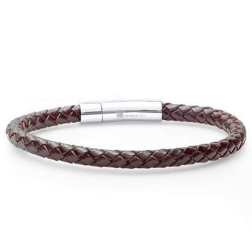 Braided Dark Brown Leather Mens Bracelet 6 mm
