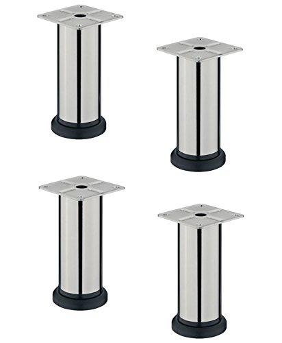 4er-Set-GedoTec-DESIGN-Mbelfu-LENA-verstellbar-Sockelfuss-Verstellfe-aus-Stahl-mit-Hheneinstellung-20-mm-Chrom-matt-Hhe-100-mm-Markenqualitt-fr-Ihren-Wohnbereich