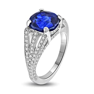 6.47 Ct Sapphire & Diamond Cocktail Ring in Platinum