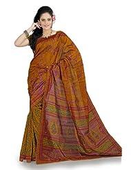 Designersareez Women Bhagalpuri Silk Printed Mustard Saree With Unstitched Blouse(850)