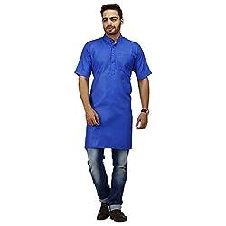 Modimania Solid Men's Straight Blue Modi Kurta