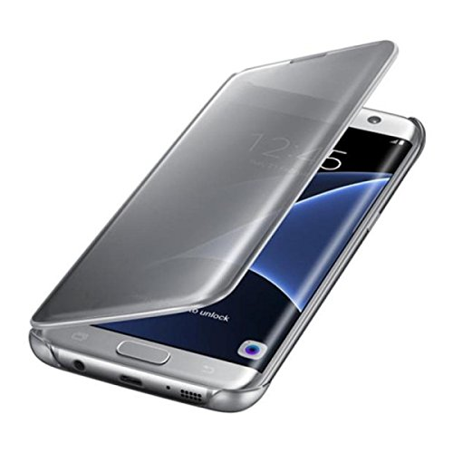 Hovisi Luxurious Shiny Flip Case cover Samsung Galaxy S7 Edge (Silver)