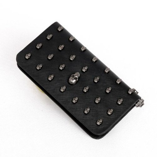 Leegoal(TM) Fashion Retro Women Skull Wallet Clutch Bag Wristlet Handbag Case for iphone 5 5s Galaxy Note 3 S4 i9500