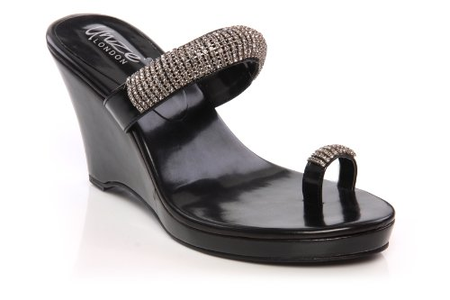 Unze Women Shiny Crystal Toe Ring Platform Wedge