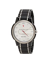 Swiss Trend Dual Colour Gents Wrist Watch With White Dial And Stainless Steel Black Chain