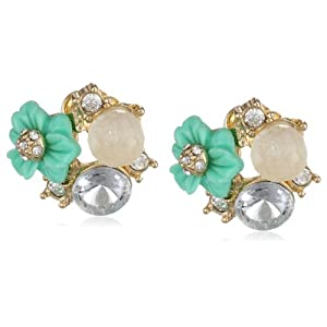 Mint Flower and Crystal Cluster Gold Tone Stud Earrings