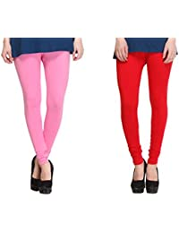 Leggings Free Size Cotton Lycra Churidar Leggings - Pack Of 2 Of Pink & Red Colour By SMEXY