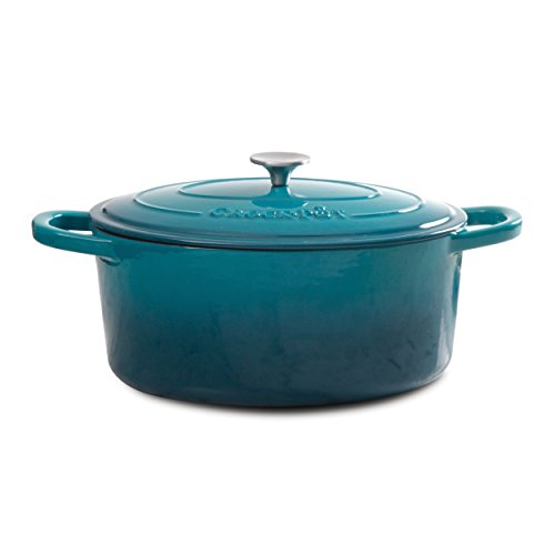 Crock Pot 109475.02 Artisan Cast Iron Dutch Oven Non-Stick Surface, 7 quart, Teal Ombre