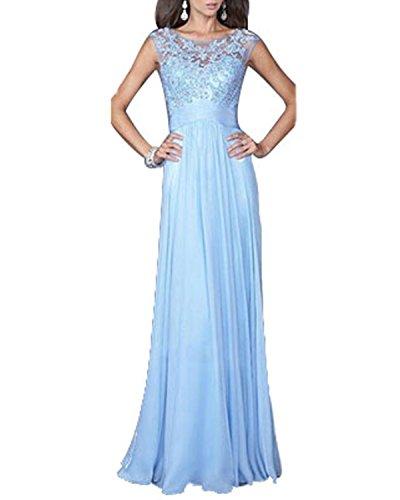 ANDI ROSE Womens Sleeveless Chiffon Back Zipper Sexy Party Evening Dress (L, Blue)