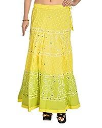 Aura Life Style Women's Cotton Bandhej Skirt (ALSK3028B, Multi , Free Size)