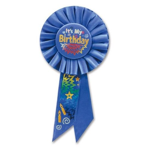 Beistle RS192 It's My Birthday Rosette Party Item, 3-1/4-Inch by 6-1/2-Inch, Blue