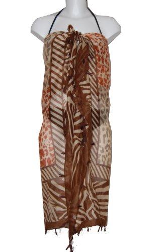 Tamari Animal Print With Tassels Sarong Beach Cover Up Wrap Dress One Size