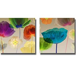 Poppy Panorama I & II by Mertens 2-pc Premium Stretched Canvas Set (Ready to Hang)